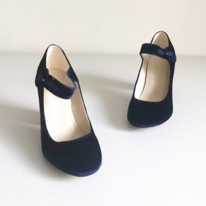 Marc Fisher Shaylie2 Velvet Mary Jane Heels 5.5